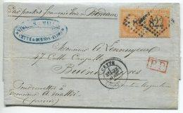 """N°31 Paire + GC 822 + """"par Packet Français Voie De Bordeaux""""/lettre De Cette (hérault) Pour Buenos Ayres (Argentine) - 1863-1870 Napoleon III With Laurels"""