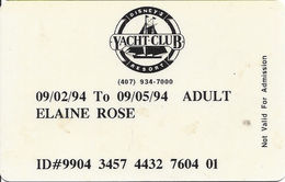 Disney's Resort Yacht Club - Adult Entry Card From 1994 - Other Collections
