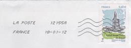 LETTRE ENTIERE 2012 - EGLISE NOTRE DAME DE ROYAN CHARENTE MARITIME - FLAMME LA POSTE - VOIR LE SCANNER
