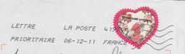 LETTRE ENTIERE 2011 - COEUR D EMMANUEL UNGARO, FLEUR ET PERROQUET  -  FLAMME LA POSTE - VOIR LE SCANNER