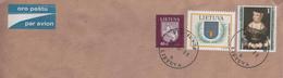 LITUANIE LIETUVA LITAUEN 1996 - LETTRE ENTIERE DE VILNIUS POUR LA FRANCE, BLASON ( UN CERF ) EUROPA, BLASON CHEVALIER -