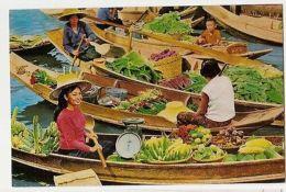 THAILAND - WAT SAI FLOATING MARKET - THONBURI - 1960s /70s ( 883 ) - Cartes Postales
