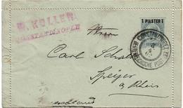 LBR38- LEVANT AUTRICHIEN CARTE LETTRE 1P OBL. CONSTANTINOPLE / SPEYER AVRIL 1902 PATTES COLLEES - Eastern Austria