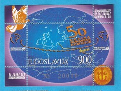 1998  BL-46 EUROPA DONAU DANUBIO 40 JAHRE DONAU KOMMISSION BIRDS JUGOSLAVIJA JUGOSLAWIEN  MNH