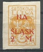 Central Lithuania - 1921 Upper Silesia Plebiscite Fund 2m/2m Imperf MH   Sc B6i