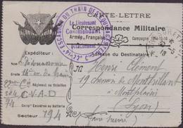 Correspondance Militaire - 22é - 14é.ESCADRON DU TRAIN EQUIPAGESTER  1918