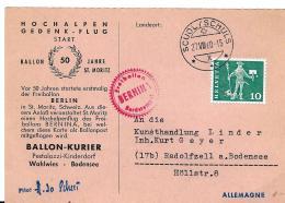 30483 - Carte Suisse Vol Ballon 1960 Hochalpengedenk-Flug St Moritz - Cachet à Date Scuol/Schuls