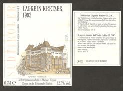 ITALIA - Etichetta Vino SUDTIROLER LAGREIN KRETZER Doc 1993 Cantina ST. MICHAEL Rosato Del TRENTINO-ALTO ADIGE -castello - Vino Rosato