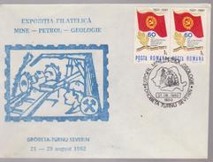 COVERS MINERALS  ROMANIA -PHILATELIC EXHIBITION  MINE-PETROL-GEOLOGIE- DROBETA-TURNU SEVERIN 21-29 AUGUST 1982