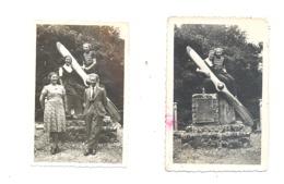 2 Foto's ( +/- 6 X 9 Cm) Memorial - Pilot, Die In 1932  CA Weemhoff En W. Nynhoff Overleden   VAALS  (Mi9) - Sports