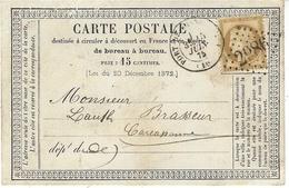 1875- C P Précurseur Affr. N° 59 Seul De PORT-DE-LA-NOUVELLE ( Aude  )  Cad T17 G C  2986 - Storia Postale