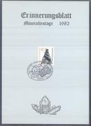 Germany 1982 Card Minerals Mineraux Bergbau Mines Mineralogy Mining Brenkit - Eifel;  Volcanos Fossilen Borse Koblenz