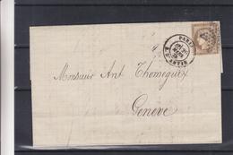 France - Lettre De 1875 - Oblit Paris - Exp Vers Genève En Suisse - Cachet Suisse Ambulant