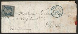 N°14Af Oblitéré étoile Muette Bleue + CàD PARIS(60)3°-1 En Bleu Sur LAC De 1854 - Marcophilie (Lettres)