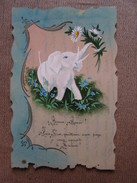 Carte Postale Ancienne Fantaisie Celluloid Elephant Peint A La Main Bonne Année - Autres