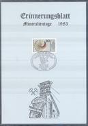 Germany 1983 Card Minerals Mineraux Bergbau Mines Mineralogy Mining; Fellbach Stuttgart Fossilien Börse; Fosil Fossil