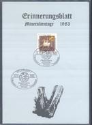 Germany 1983 Card Minerals Mineraux Bergbau Mines Mineralogy Mining; Fossilien Fosil Fossil Stuttgart; Plegiocidaris Cor