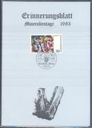 Germany 1983 Card Minerals Mineraux Bergbau Mines Mineralogy Mining; Mineralien Fossilien Börse Freiburg Fosil Fossil