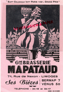 87 - LIMOGES - GRAND BUVARD BRASSERIE MAPATAUD- 71 RUE DE NEXON - BIERES VENUS- BERMAP- EXPOSITION COLONIALE PARIS 1931 - Blotters