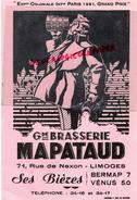 87 - LIMOGES - GRAND BUVARD BRASSERIE MAPATAUD- 71 RUE DE NEXON - BIERES VENUS- - EXPOSITION COLONIALE PARIS 1931 - Buvards, Protège-cahiers Illustrés
