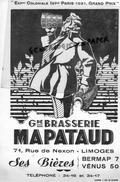 87 - LIMOGES - GRAND BUVARD BRASSERIE MAPATAUD- 71 RUE DE NEXON - BIERES VENUS- BERMAP- EXPOSITION COLONIALE PARIS 1931 - B