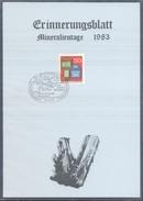 Germany 1983 Card Minerals Mineraux Bergbau Mines Mineralogy Mining Map Mineralien Fossil Fosil; Fossilien Börse Bad Ems