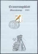 Germany 1983 Card Minerals Mineraux Bergbau Mines Mineralogy Mining Fossil Fosil; Fossilien Börse Koblenz Blaubelierz