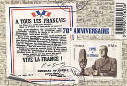 F 4493 De Gaulle Appel 18 Juin 1940  OBLITERE ANNEE 2010
