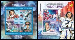 NIGER 2013 - Yang Liwei, Space - YT 1789-92 + BF154; CV = 25 €
