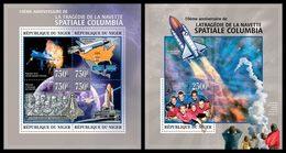 NIGER 2013 - Columbia Space Shuttle - YT 1817-20 + BF161; CV = 31 €