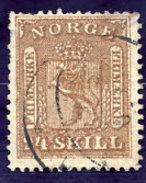 NORWAY 1863 Arms 24 Sk. Used.  Michel 10 - Norway