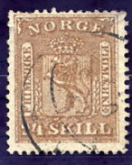 NORWAY 1863 Arms 24 Sk. Used.  Michel 10