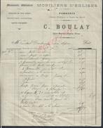 FACTURE DE 1906 C. BOULAY MENUISERIE EBENISTE MOBLIERS D EGLISES À SAINT MARTIN D ASPRES ( ORNE ) : - Petits Métiers