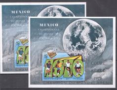 A102 REPUBLIQUE DU TCHAD WORLD CUP FOOTBALL MEXICO 1970 2BL MNH