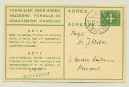 Nederland - 1948 - 4 Cent Van Krimpen, Verhuiskaart G20  Van Amsterdam RAI Naar Brussel