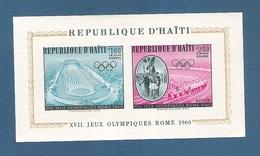 HAITI - 1960  BF DEDICATO ALLA XVII OLIMPIADE DI ROMA - NUOVO S.T.L., NON DENTELLATO - IN OTTIME CONDIZIONI.