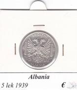 ALBANIA   5  LEK  1939 COME DA FOTO - Albania