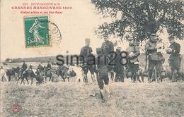 EN BOURBONNAIS - GRANDES MANOEUVRES 1909 - GENERAL ARBITRE ET SON ETAT MAJOR
