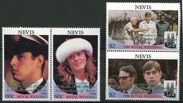 Nevis ** N° 453 à 456 Surchargés - Mariage Du Prince Andrew - - Central America