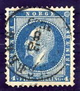 NORWAY 1856 King Oskar 4 Sk. Used.  Michel 4 - Norway