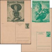 Autriche 1951. Entiers Postaux, 2 Cartes Avec Réponse Payée Non Pliées (rare). Costumes, Raisins, Chapeaux, Montagne