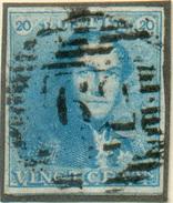 N°2 - Epaulette 20 Centimes Bleue, TB Margée, Obl  P.62 HUY Centrale Et Droite.  Superbe - 11715 - 1849 Epaulettes