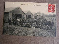 Carte Postale Ancienne 80 Somme Peronne Cantonnement Des Reservistes Militaires Militaria - Peronne