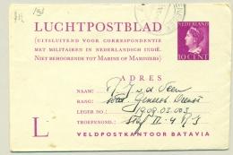 Nederland - 1947 - 10 Cent Konijnenburg LP-blad L Militaire Correspondentie Nederlands Indië - Used