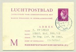 Nederland - 1948 - 10 Cent Konijnenburg LP-blad M Militaire Correspondentie Nederlands Indië - Used