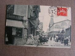 Carte Postale Ancienne 92 Hauts De Seine Bois Colombes Rue Des Halles Et Le Marché Tres Animée Mercerie Lagrous - France