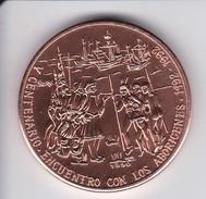 MONEDA DE CUBA DE 1 PESO DEL AÑO 1990 DEL V CENTENARIO - ENCUENTRO CON LOS ABORIGENES (COIN) SIN CIRCULAR-UNCIRCULATED