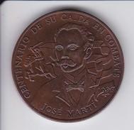 MONEDA DE CUBA DE 1 PESO DEL AÑO 1995 DE JOSE MARTI CENTENARIO DE SU MUERTE (COBRE PATINADO) SIN CIRCULAR-UNCIRCULATED