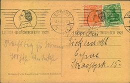 1921, LUTHER GEDÄCHTNISFEIER, Maschinenstempel Von Erfurt