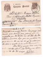 España Tarjeta Entero Postal Cervantes 20 Cts. Castaño, Edifil Nº 86. Circulada De Avila A San Lorenzo Del Escorial